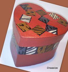 Boite forme coeur déco Africa : Boite à bijoux Décoration insolite, boite à secrets, coffret cadeau, boite gourmandises : Boîtes, coffrets par creasoize