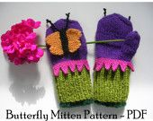 Butterfly Mittens Knitting Pattern