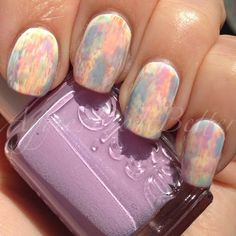 Aggies Do It Better: Pastel rainbow watercolor dry brush nails