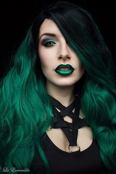 gorgeous green makeup and hair, gothic