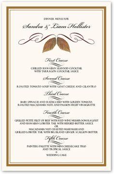 Walnut Flourish Menu Cards Wedding Menu Cards Dinner Party Menu, Wedding Dinner, Dessert For Dinner, Dinner Table, Dessert Ideas, Seafood Cocktail, Cocktail Sauce, Wedding Menu Cards, Wedding Programs