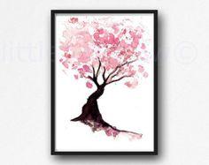 Cerezo Flores Set de 4 acuarela estampados rosa por ColorWatercolor