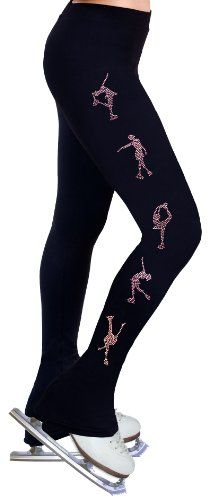 cool Ice Figure Skating Dress Practice Pants with Rhinestones R224 - Rose Pink