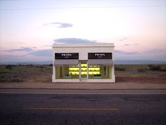 One of my favorite art installations -- absolutely brilliant.  In Valentine, Texas near Marfa.