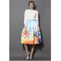 MIDI scenic skirt Beautiful full midi skirt with scenic detail. I have a size 8. Skirts