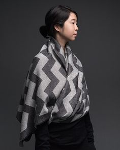 Graphic scarves and shawls from String Theory. Made with sustainable yarns.