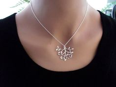 Leaf  Necklace,  Silver Necklace, Sterling Silver,  Leaf Jewelry, Birthday Gift, Dainty Mother's  Jewelry. $26.00, via Etsy.