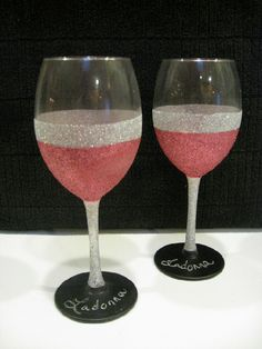 Glittered wine glasses with chalk board paint bases- best of both worlds! @Cyerra Crumrine Crumrine Crumrine... Bachelorette party idea? @Caitlin Burton Burton Burton Fye glasses we saw in the mall