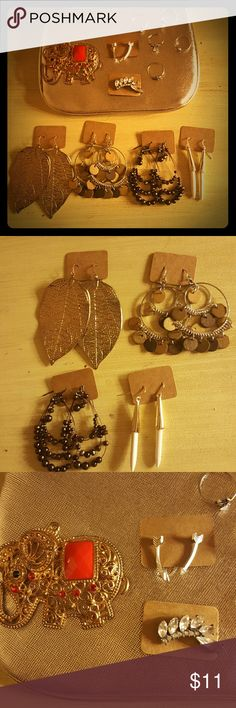 Bohemian jewelry bundle Large gold leaf earrings, silver hoops with wooden baubles, bronze beaded teardrop earrings, gold pointed white turquoise earrings, gold and red elephant pendant, silver arrow studs, rhinestone wing lobe/cartilege cuff (pierced), 5 silver midi rings (shown in last pic for close up) all well worn no missind pieces or major flaws. Comes in gold cosmetic case pictured Forever 21 Jewelry Earrings