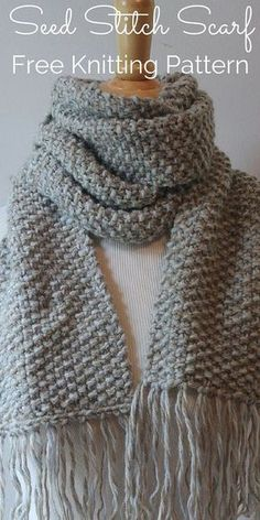 Free Beginner Scarf Knitting Pattern Knit this elegant seed stitch scarf with m. Free Beginner Scarf Knitting Pattern Knit this elegant seed stitch scarf with my Free Knitting Pattern! Free Knitting Patterns For Women, Knitting For Kids, Easy Knitting, Knitting For Beginners, Knitting Designs, Knitting Projects, Knitting Patterns For Scarves, Free Scarf Knitting Patterns, Knitting Ideas