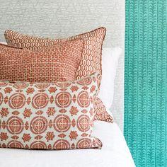 Walter G Wholesale Portal - AUS - Tapi Guava linen cushion 55x55cm Hand Printed Fabric, Printing On Fabric, Bed Pillows, Cushions, Artisan, Portal, Pattern, Prints, Fabrics