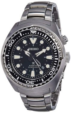 Price: (as of – Details) Watch Seiko Prospex Kinetic GMT Divers Man Seiko X Prospex GMT men's dive watch features a wide and thick solid stainless steel case wit… Stainless Steel Polish, Stainless Steel Watch, Stainless Steel Bracelet, Seiko Diver, Cool Watches, Watches For Men, Wrist Watches, Daniel Wellington, Fossil