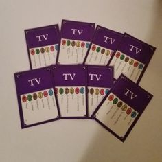 01 Vintage paper supplies Trivia Pursuit TV Edition lot of 8 purple playing cards mixed media art scrap projects
