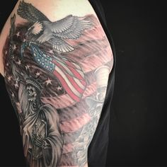 Added flag to this American half sleeve. #flagtattoo #tattoo #patriotictattoo