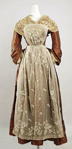Mid-1700s costume constructed of bronze silk and white/ivory cotton, circa 1890. Metropolitan Museum of Art.