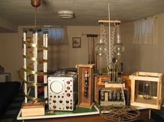 Here are some pictures of the props I have gathered and made so far... Props shown: Lighting screen, 4 pole spark gap, 8 pole spark gap, Main Switch board, Auxiliary switch board, steam valve, fake X ray tube, antique radio and magneto, Kenotron Atom Velocitator, Vu-lite Hytron Disintegrator, Oscilloscope, Hight voltage Insulators. Halloween Forum, Adult Halloween Party, Halloween Themes, Mad Scientist Halloween, Mad Scientist Party, Frankenstein, Halloween Bottle Labels, Steampunk Lamp, Steampunk Crafts