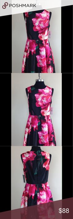 Cocktail Dress Donna Ricco Floral Cocktail Dress Fit & Flare Black/Fuchsia Donna Ricco Dresses