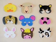 What a nice set of Farm Animal masks!  Please allow 2-4 business days before shipping.  Set of 9 adorable animals: duck, sheep, cat, dog, mouse, pig, bunny, horse, cow. Made out of foam, holds with elastic string for comfortable wear.  Due to small parts and a string this product is NOT FOR CHILDREN UNDER 3 YEARS OLD.  Use them for dress up times, parties, pretend play, carnivals, add to party favors and most of all have lots of fun!  Available immediately, please leave a message for the…