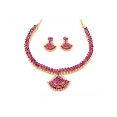 Pearlscart Temple Necklace Set (Ruby) #fashionjewellery #necklaceset