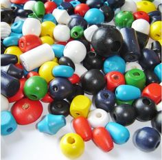 Rainbow Creations Children's Chunky Wooden Beads for Threading