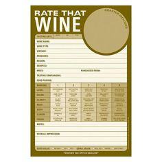 Rate that Wine ---> for a wine tasting party