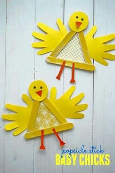 Popsicle stick baby chicks craft for kids