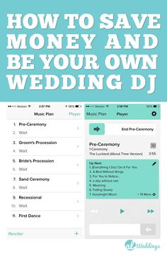 How to save money at your wedding by being your own wedding DJ. I've also listed a full wedding play list from Processional to first dance!