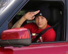 Austin in his car
