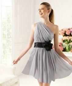 Draped A-line One-shoudler Chiffon Homecoming Dress With Elastic Satin Waistband - 58eveningdress