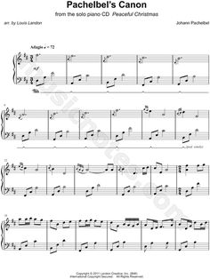 Print and download Pachelbel's Canon sheet music by Louis Landon arranged for Piano. Instrumental Solo in D Major. Pachelbel's Canon, I Saw The Light, Piano Sheet Music, Instrumental, Tangled, Anna, Rapunzel, Piano Music, Instrumental Music