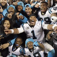 Cam Newton and the Carolina Panthers are going to Super Bowl On Sunday, the likely league MVP led his team to a rout of the Arizona Cardinals in the NFC Championship Game in Charlotte, North Carolina. Panthers Win, Carolina Panthers Football, Nfl Football, Panther Football, Football Players, Cam Newton Kids, Michael Jordan, Professor, Carolina Pride