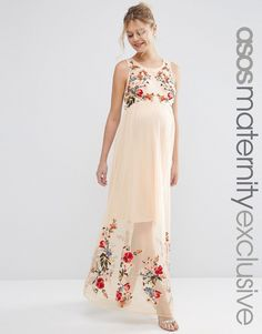 Image 1 of ASOS Maternity Salon Mesh Maxi Dress with Embroidery