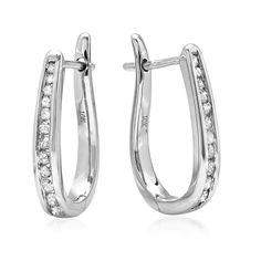 AGS Certified 10K White Gold Flip Back Diamond Hoop Earrings ( 1/4ct tw) *** Want additional info? Click on the image. (This is an affiliate link and I receive a commission for the sales)