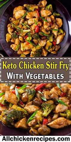 Keto Chicken Stir Fry - This east keto chicken stir fry with vegetables is one of the best stir fry recipes that can be made in under 20 minutes consists of tender, juicy chicken pieces, carrots, bell Stew Chicken Recipe, Easy Crockpot Chicken, Low Carb Chicken Recipes, Keto Chicken, Chicken Pieces Recipes, Healthy Chicken Stir Fry, Chicken Broccoli Stir Fry, Ketogenic Recipes, Sauteed Vegetables