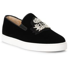 Logo Boat Black Velvet Sneakers (€1.105) ❤ liked on Polyvore featuring shoes, sneakers, black, black slip-on sneakers, black shoes, slip-on sneakers, black slip on sneakers and christian louboutin shoes