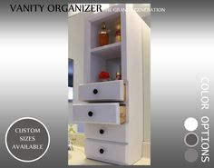 Vanity Organizer, makeup, brushes, lotions, perfumes, nail polish , Makeup Drawers, Lipstick Storage , Cosmetic Storage by EdcaQualityFurniture on Etsy https://www.etsy.com/listing/499446376/vanity-organizer-makeup-brushes-lotions