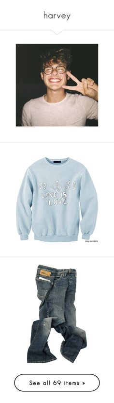 """""""harvey"""" by krispycadet ❤ liked on Polyvore featuring tops, sweaters, sexy sweaters, sweatshirts, blue top, sexy tops, pants, bottoms, jeans and men"""