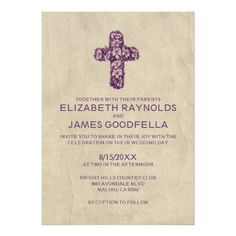Catholic Wedding Invitation Country Iron Cross Wedding Invitations