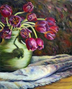 Tulips in the light  (2000) Oil on canvas by Marie Witte