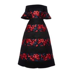 DELPOZO Embroidered Floral Print Midi Dress ($8,100) ❤ liked on Polyvore featuring dresses, circle skirt, flared skater skirt, off the shoulder dress, midi dress and floral midi dress