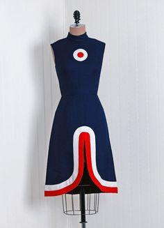 1960's Mod Red White Blue Dress