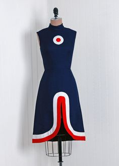 1960's Mod Red White Blue Dress