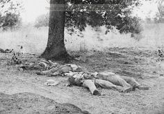 Gettysburg, Pennsylvania. Dead Confederate soldiers who had evidently been shelled by our batteries on Round Top. Date Created/Published: 1863 July.