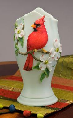 Cardinal on Dogwood Vase