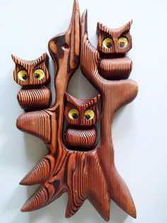 Vintage Cryptomeria Owl Wooden Wall Art 1970s by WylieOwlVintage, $55.00