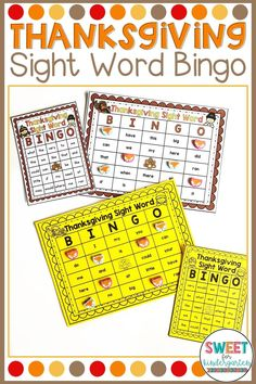EDITABLE Thanksgiving Sight Word bingo is a hit with my students! It's the perfect activity to get some sight word review in before Thanksgiving Break.  The best part is you can use any 30 words and the cards autofill and shuffle the words for you- just type ONCE and print! Great for Kindergarten, 1st or 2nd Grade. Thanksgiving Activities For Kindergarten, Thanksgiving Bingo, Kindergarten Reading, Preschool Activities, Sight Word Bingo, Sight Word Activities, G Words, Sight Words, Activity Centers