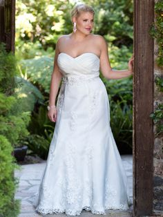 A-Line Chapel Trailing Strapless Satin And Lace Beadings Plus Size Wedding  Dresses 496628babc05