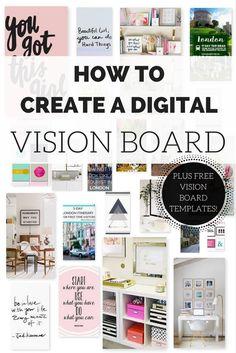 Vision Board Template, Digital Vision Board, Vision Board Ideas Diy, Blogging, Creating A Vision Board, Home Board, Visualisation, Inspiration Boards, Mood