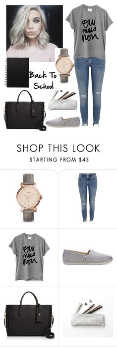 """""""#44"""" by mariangela06 ❤ liked on Polyvore featuring FOSSIL, River Island, Sincerely, Jules, TOMS, Longchamp and BackToSchool"""