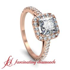 Princess Cut Halo Diamond Engagement Ring in Rose Gold